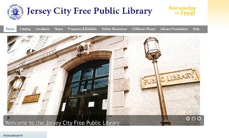 Secreenshot der Startseite mit einem Bild von der Hauptstelle der Bücherei Free Public Library in Jersey City