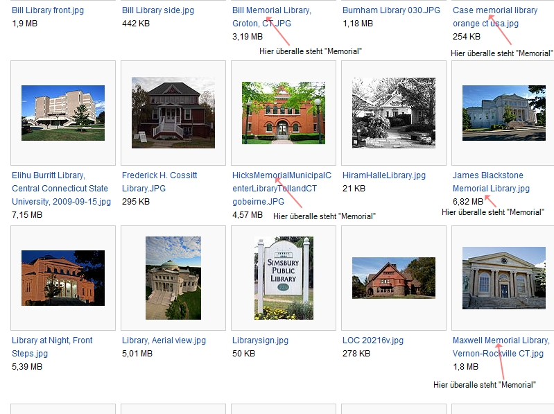 """Aus den Wikipedia Commons habe ich mal Bildmaterial zu ein paar Bibliotheken in Connecticut ausgeschnitten - """"Memorial"""" kommt in den Namen der Büchereien sehr oft vor. Hinzu kommen noch die, die nach jemandem benannt sind, ohne, dass """"Memorial"""" dabeisteht."""
