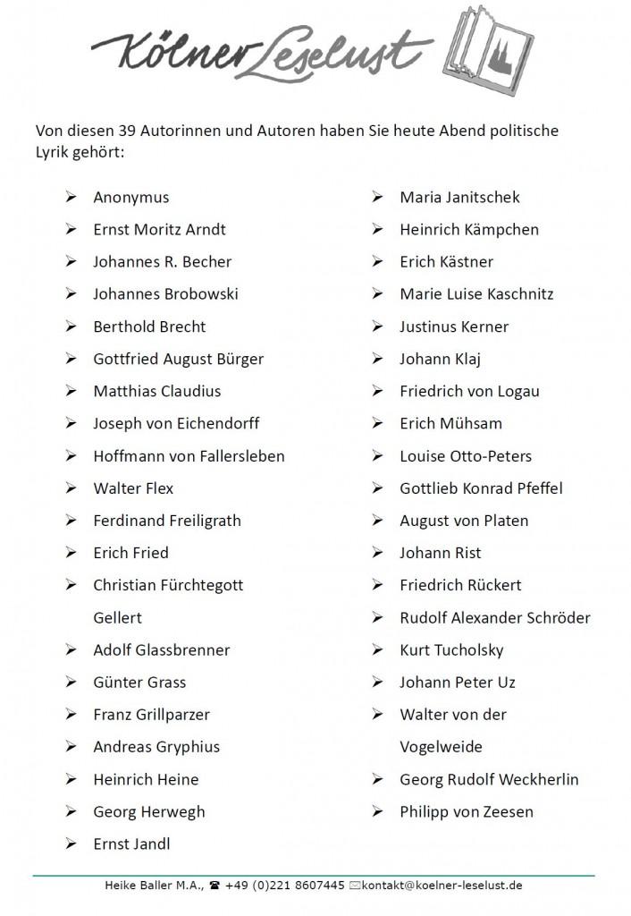 39 Namen von Walter von der Vogelweidde bis Günter Grass, das sind die Autorinnen und Autoren für heute Abend