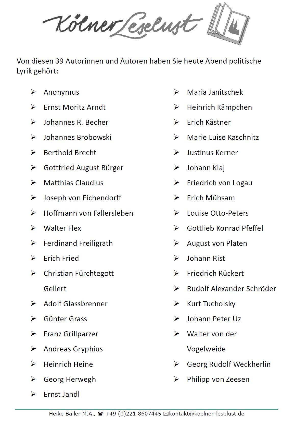 Autorinnen Und Autoren Für Heute Abend Politische Lyrik