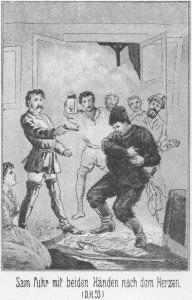 Bei der Verfolgung der Schurken schießt einer der Schurken auf Sam Barth