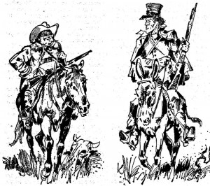 """Hier sehen den dicken Jemmy und den langen Davy in """"Der Sohn des Bärenjägers"""", gezeichnet von D. Douglas"""