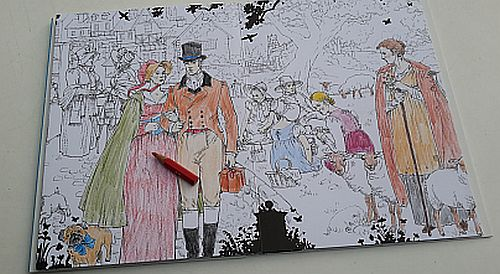 Jane Austen Ausmalbuch, Szene mit Buntstift