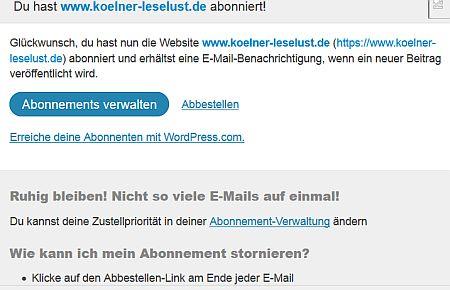 Abonnieren Kölner Leselust Mail zur Begrüßung