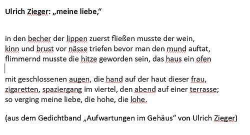 """Ulrich Zieger """"meine liebe"""" Text zur Interpretation von Hanne tyslik fürs Blogwichteln"""
