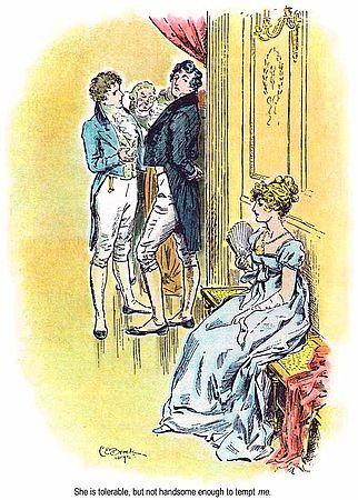 Illustration zu Pride and Prejudice von 1895, Szene Darcy  lästert über Elizabeth. zu Artikel über Colin Firth als Darcy