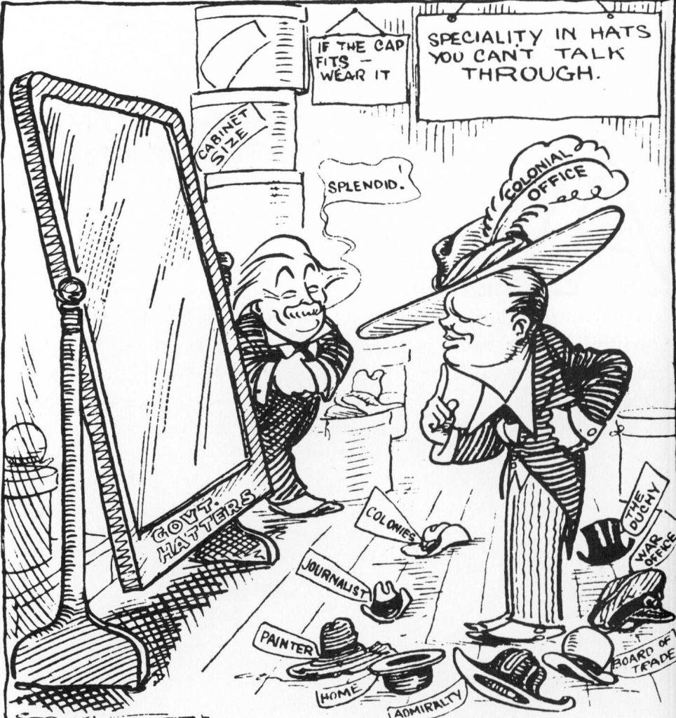 Winston Churchill wechselt Ministerämter wie andere Leute um 1921 - von dann stmmat die Karikatur - ihre Hüte. Boris Johnson findet das großartig in seinem buch
