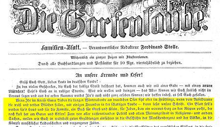 Titelblatt der Gartenlaube mit markiertem Textabschnitt des voruasgegangenen Zitats. Marlitt war hier Autorin.