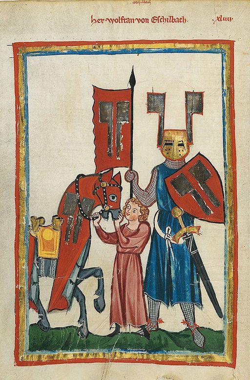 Knappe und Ritter aus dem Manesse-Codex; zum Buch von Michae Ende und Wieland Freund, in dem ein kleiner Junge Knappe werden will.