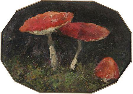 Abbildung Gemälde von Fliegenpilzen. Zu Naturgenies von Bruno P. Lremer und Bärbel Oftring
