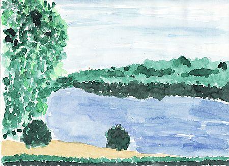 Aquarell See passsend zu einer Szene aus dem Buch von Karsten Dusse