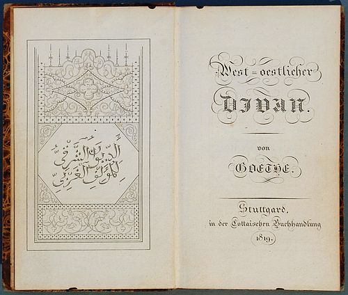 """Titelblatt des bandes """"West-östlicher Diwan"""" von Goethe von 1819 - auf Deutsch und Arabisch"""