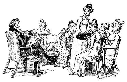 Eine der Illustraionen wie sie im Buch mit den Rätseln rund um Jane Austens Weke vorkommt - von Hugh Thomson, 90er Jahre des 19. Jahrhunderts