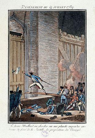 Alte Illustration vom Sturm auf die Bastille - Maillard balanciert über eien Planke, um einen zettel zu holen. Die Szene schildert Éric Viullard ins einem Buch