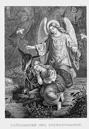 Auch die Illustrationen von Ludwig Emil Grimm haben Raum in der Grimmwelt - hier die zu Brüderchen udn Schwesterchen mit Engel und Lilien