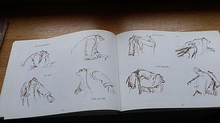 Bildfolge von Phasen der Entscheidungsfindung von Ernest, Célestine aus der Kliik abzuholen - gezeichnet von Gabrielle Vincent