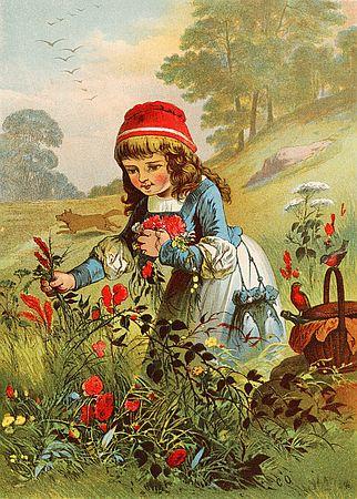 Alte Illustration zu Rotkäppchen im Vergleich zu Bildern von Rotraut Susanne Berner