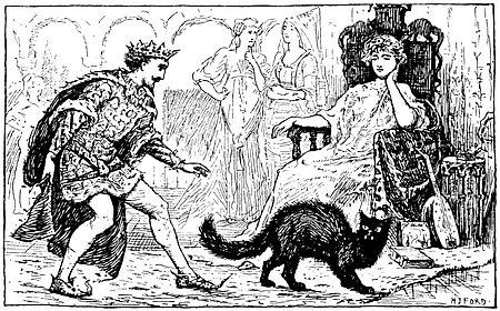 Holzschnitt Illlustration zu einem französischen märchen Prinzessin auf Thron, Prinz davor Katze im Vordergrund - passend zu den in Königliche Hoheit vorgelesnen französischen Märchen