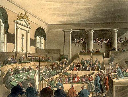 Zeichnung einer Gerichtsszne im Old Bailey, zm Krimi von Anne Perra, dessen Gerichtsszenen dort spielen.
