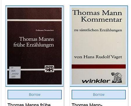 Zweit Titel zu Thomas Mann im Internet-Archiv als beipsiel für die Ausleihmögllichkeit