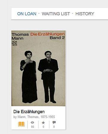 Beispiel für on loan beim Internet-Archiv - hier Erzählungen von Thomas Mann.