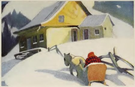 Gemälde verschneite kanadsiche Landschaft mit Haus zu Krimis zu Louise Penny
