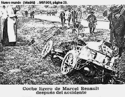 Nachricht über den Unfalltod von Marcel Renault beim Rennen von Paris aus - die Schilderung findet sich bei Mathijs Deen im Buch.