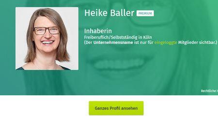Blick auf Xing-Profil Heike Baller für Netzwerken mit Xing und LinkedIN für Dummies