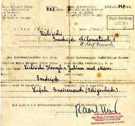Eine Nachricht über ennen polnischen Kriegsgefangenen vom Roten Kreuz  als Bsp. für ähnliche Korrepondenz im Roman von Sasha Filipneko