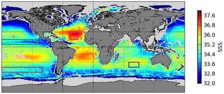 Der Salzgehalt der Meere Grafik von SMOS GLOSCAL Cal/Val project zum Buch Meer von Piotr karski