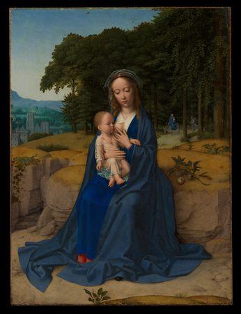 Gemälde aus dem 16 Jahundert Maria stillt auf der Flucht nach Ägyptern das Kind.