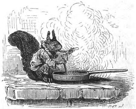 Schraffurzeichnung eines Eichhörnchen mit Kochtaopf zu Der Zwerg Nase