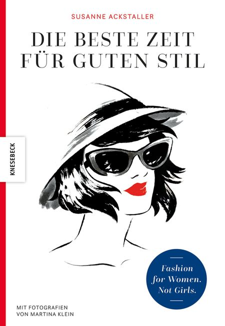 Coverbild Susanne Ackstaller Frauenkopf  mit Hut und Sonnenbrille mit roten Lippen,, sonst schwarz-weiß.