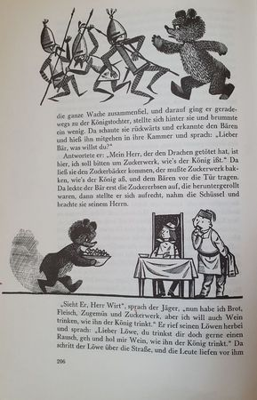 """Eine Seite aus """"Die zwei Brüder - gehört zu den Lieblingsmärchen meienr Kindheit - mit dem Bären, der Soldaten ohrfeigt und dann Süßigkeiten zu seinem Herrn bringt."""
