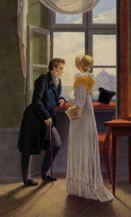 Gemälde Regency-Zeit, ein Herr im blauen Fravk steht am Fesnter, neben ihm eine Frau im weißen Kleid und mit Strohhut.