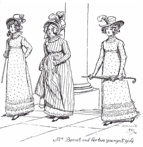 """Illustration aus """"Pride and Prejudice"""" Zeichnung zeigt Mrs. Bennet mit Lydia und Kitty"""