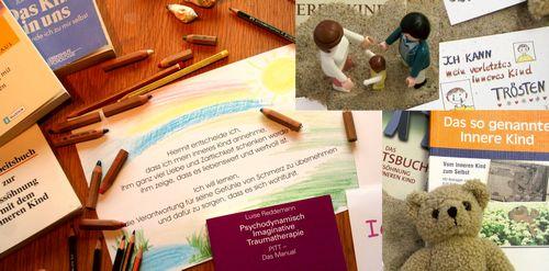 Materialsammlung für die Arbeit mit dem inneren Kind, Buntstifte, Bücher, Motivationssprüche, Teddy, Bilder