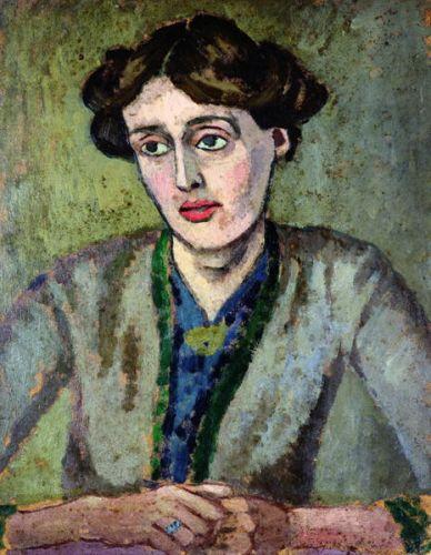 Gemälde Frau mit braunem haar, als Welle hochgesteckt, mit grauer, grün geränderter Jacke über baluer Bluse vor grauem Hintergrund - Virginaia Woolf 1917