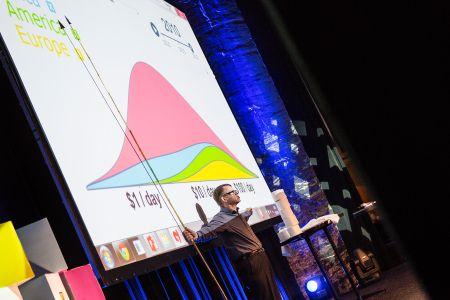 Hans Rosling vor einer Leinwand mit der farbigen Grafik zur Verteilung von Menschen in Einkommesnklassen - Rosa ist der große Hügel in der Mitte und steht für Asien.